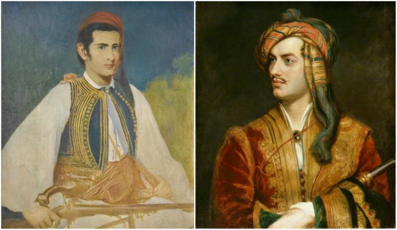 Samuel Gridley Howe painted in the dress of a Greek soldier by John Elliott