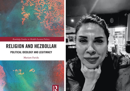 Book cover of Religion and Hezbollah and headshot of author Mariam Farida