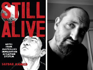 Still Alive book cover and Safda Ahmed's headshot